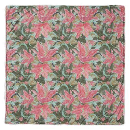 Throw [large shown]] Pink, Green, Floral  Lily Garden  Schubert