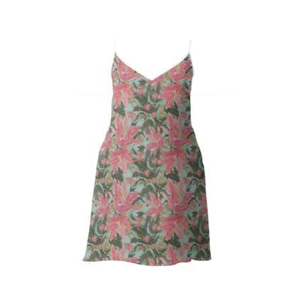 Slip Dress Pink Green Floral  Lily Garden  Schubert