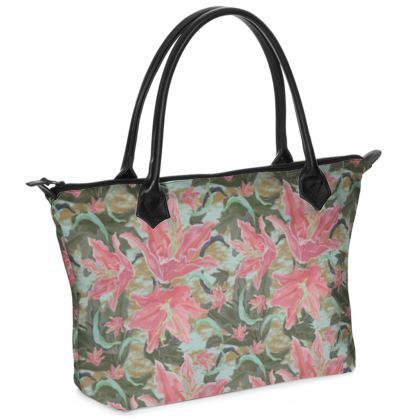 Zip Top Handbag Pink, Green, Floral  Lily Garden  Schubert