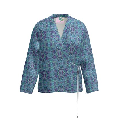Wrap Blazer Blue, Green Botanical  Atlantic