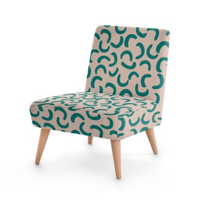 Occasional Chair - Beige Turquoise
