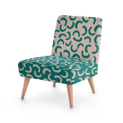 Two fabrics Occasional Chair - Turquoise and Beige