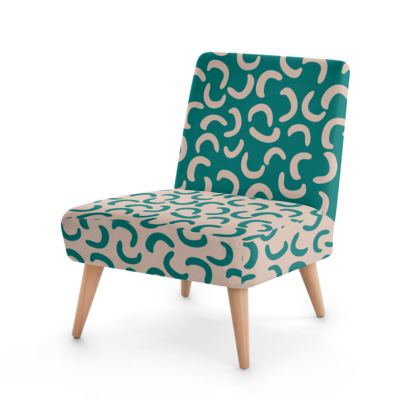 Beige Turquoise - 2 fabrics Occasional Chair