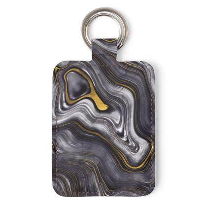 dark agate stone leather keyring