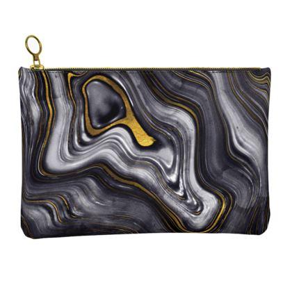 dark agate stone leather clutch bag