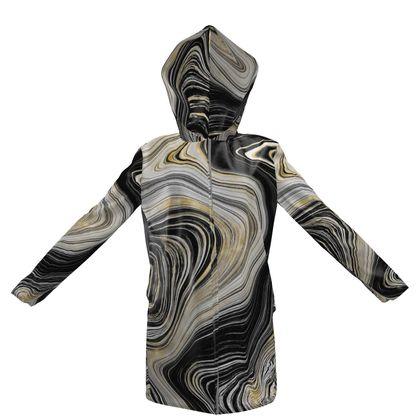black gold agate hooded rain coat