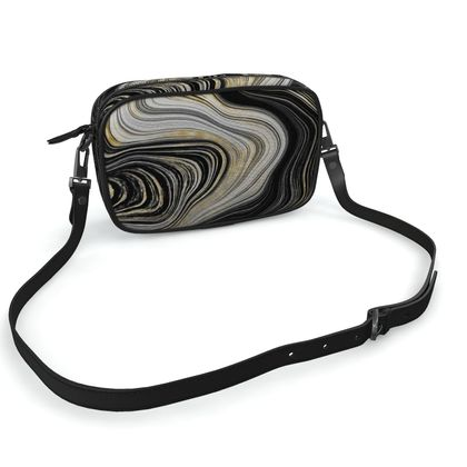 black and gold agate camera bag