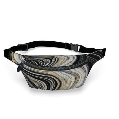 black and gold agate fanny pack