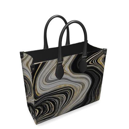 black and gold leather shopper bag