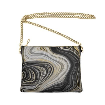 black and gold agate bag with chain