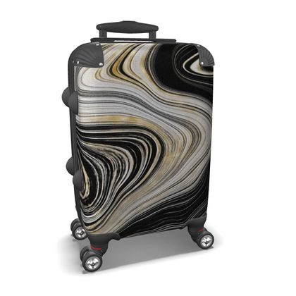 black and gold agate suitcase