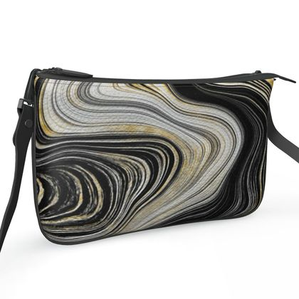 black and gold agate zip bag