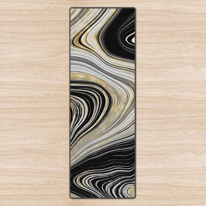 black and gold agate yoga mat