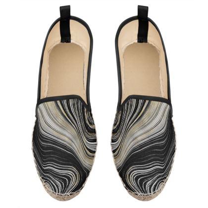 black and gold agate loafer espadrilles