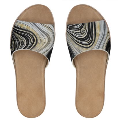 black and gold agate leather sliders