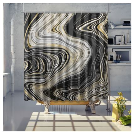 black and gold agate shower curtain