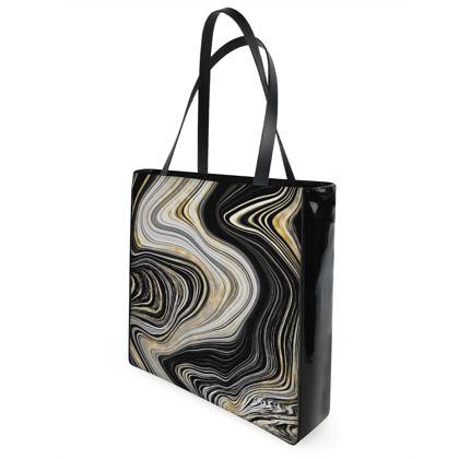 black and gold shopper bag