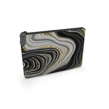 black and gold agate leather pouch