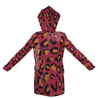 leopard print hooded rain mac
