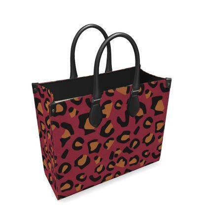 leopard print leather shopper bag