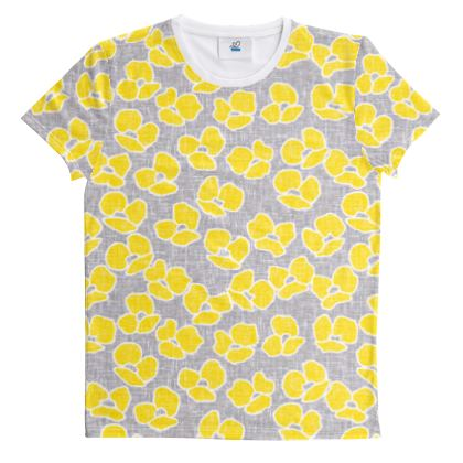 Sun poppies - Cut And Sew All Over Print T Shirt - Large yellow flowers, gray flax, trendy, bright gift, summer, blooming, floral, gray flax - design by Tiana Lofd
