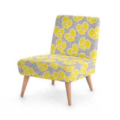 Sun poppies - Occasional Chair - Large yellow flowers, gray flax, trendy, bright gift, summer, blooming, floral, gray flax - design by Tiana Lofd