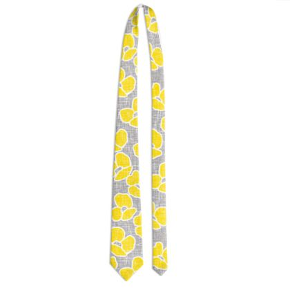 Sun poppies - Tie - Large yellow flowers, gray flax, trendy, bright gift, summer, blooming, floral, gray flax - design by Tiana Lofd