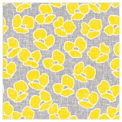 Sun poppies - Fabric Printing - Large yellow flowers, gray flax, trendy, bright gift, summer, blooming, floral, gray flax - design by Tiana Lofd