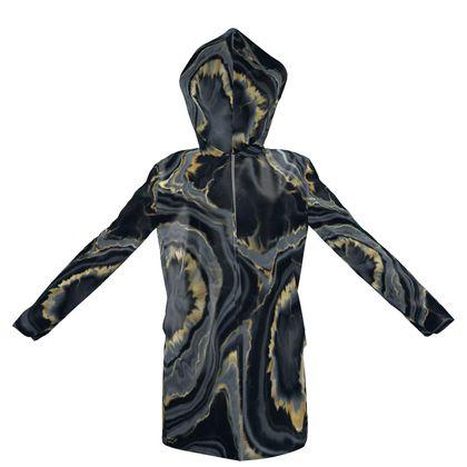 black agate hooded rain mac