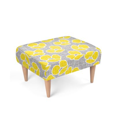 Sun poppies - Footstool - Large yellow flowers, gray flax, trendy, bright gift, summer, blooming, floral, gray flax - design by Tiana Lofd
