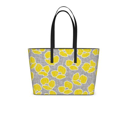 Sun poppies - Kika Tote - Large yellow flowers, gray flax, trendy, bright gift, summer, blooming, floral, gray flax - design by Tiana Lofd
