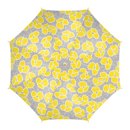 Sun poppies - Umbrella - Large yellow flowers, gray flax, trendy, bright gift, summer, blooming, floral, gray flax - design by Tiana Lofd