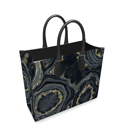 black agate leather shopper bag