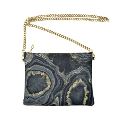 black agate crossbody bag with chain