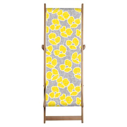 Sun poppies - Deckchair Sling - Large yellow flowers, gray flax, trendy, bright gift, summer, blooming, floral, gray flax - design by Tiana Lofd