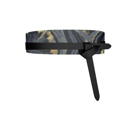 black agate leather wrap belt