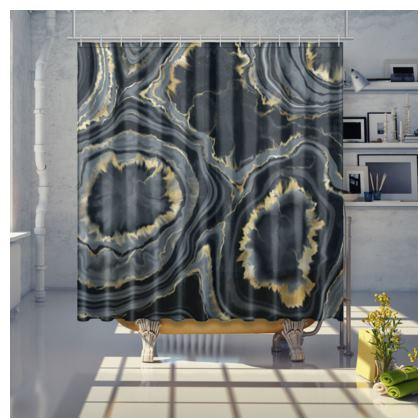 black agate shower curtain