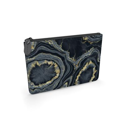 black agate leather pouch