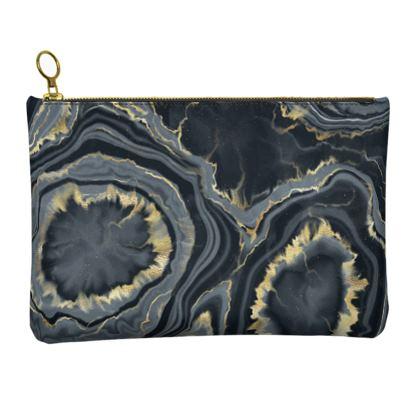 black agate leather clutch bag