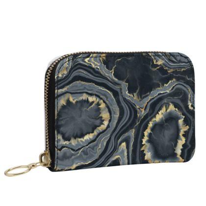black agate leather zip purse