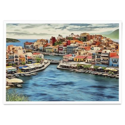 Greek Colourful Houses - Paper Poster