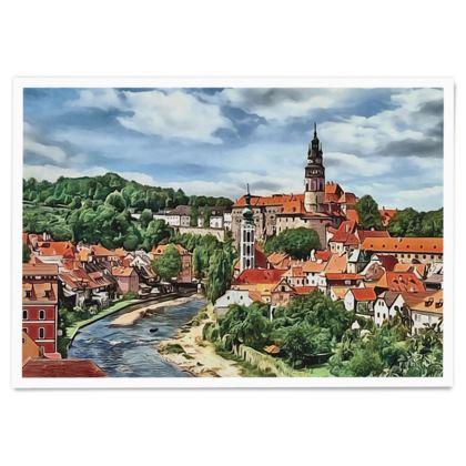 Cesky  Krumlov Castle UNESCO site - Paper Poster