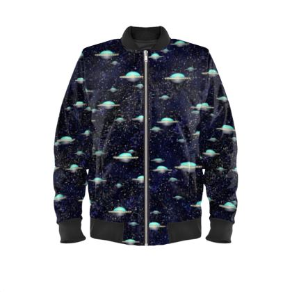 the Living Universe - Mens Bomber Jacket - Outer space wars, alien spaceships, fantasy, stars, dark starry sky, flying saucers, children's gift for boys - design by Tiana Lofd