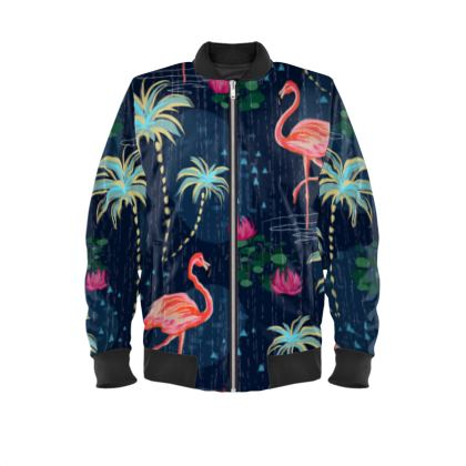 Pink flamingo - Mens Bomber Jacket - tropical rain, palms, dark blue, navy, exotic, Bohemian, whimsical, resort, beach, bright, jungle, travel - design by Tiana Lofd