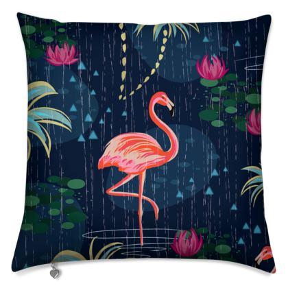 Pink flamingo - Cushions - tropical rain, palms, dark blue, navy, exotic, Bohemian, whimsical, resort, beach, bright, jungle, travel - design by Tiana Lofd