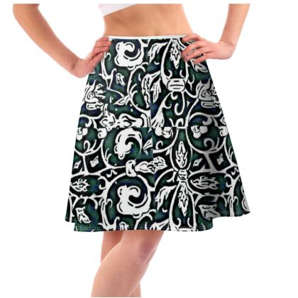 'Victoriana' Flared Skirt in Black , White and Green