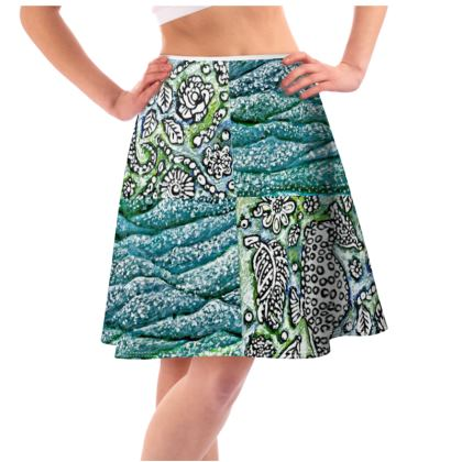 'Underwater' Flared Skirt in Green and Blue