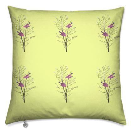Cushions- Emmeline Anne Birds On a Branch, Lemon