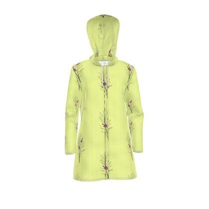 Women's Hooded Rain Mac - Emmeline Anne Birds On a Branch Lemon