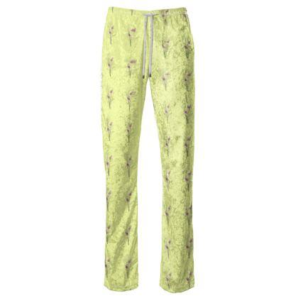 Women's Trousers - Emmeline Anne Birds On a Branch Lemon